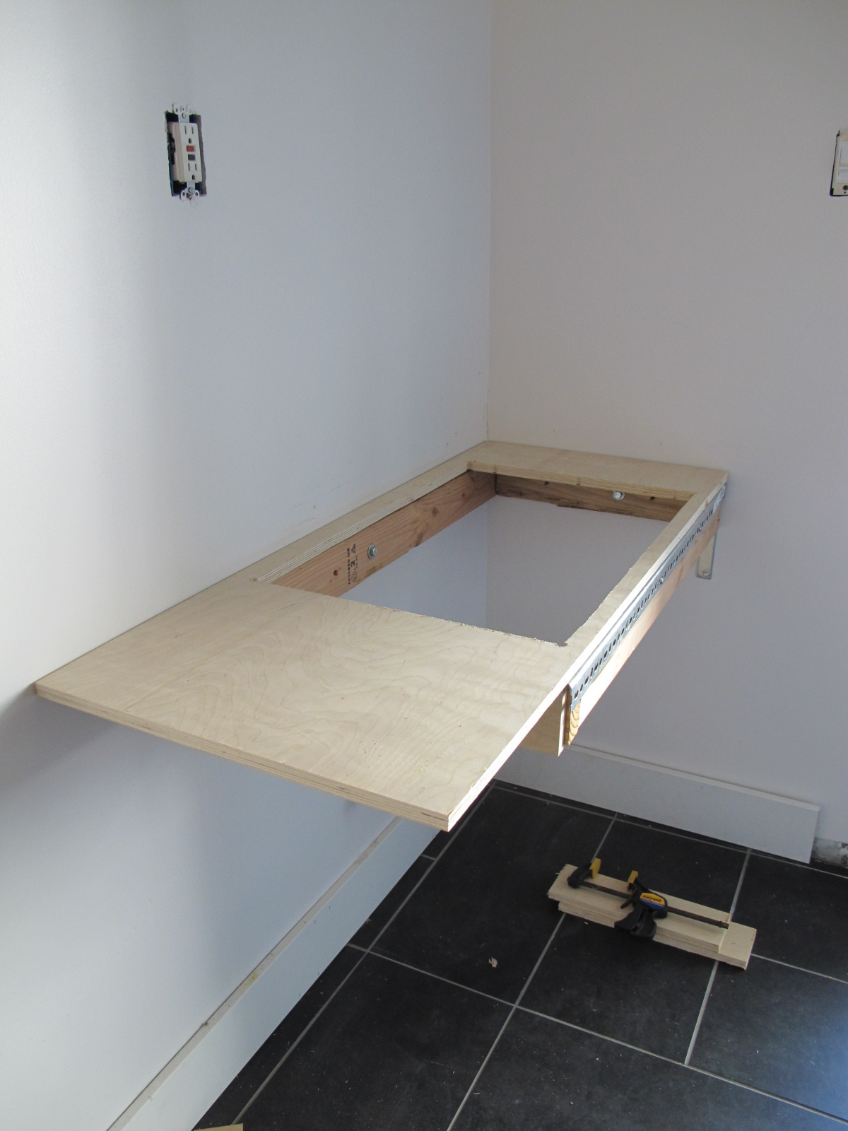 Floating Sink : Tyler started the floating sink by mounting a 2 x 4 wood box to the ...