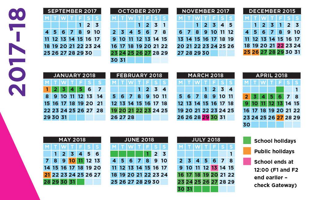 School Calendar 2017-2018 Templates