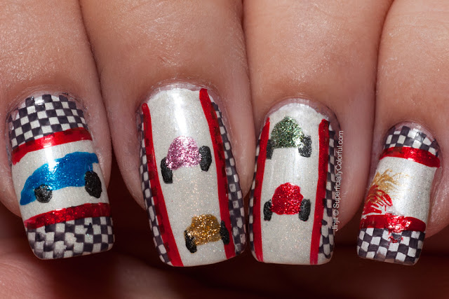 Freehand nail art inspired by Darling Diva Polish name: Dangerous Driver