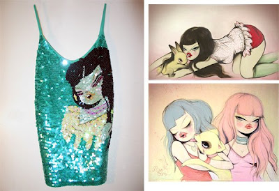 graffiti girl sequin tank top