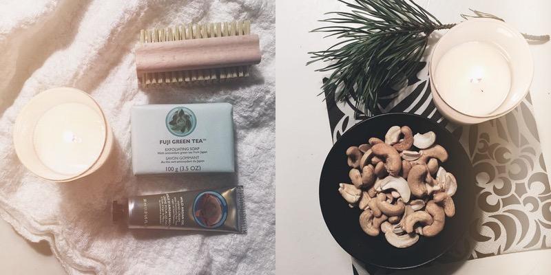 Instagram kuvakollaasi kosmetiikkaa ja pähkinöitä