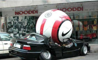 Funny picture: nike ball crushed auto