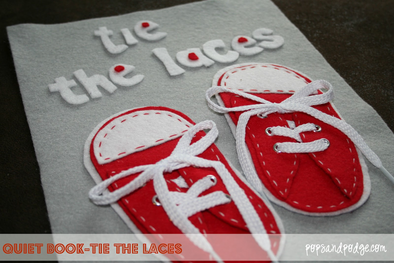 Pops and podge quiet book page 3 tie the laces quiet book page 3 tie the laces ccuart Choice Image