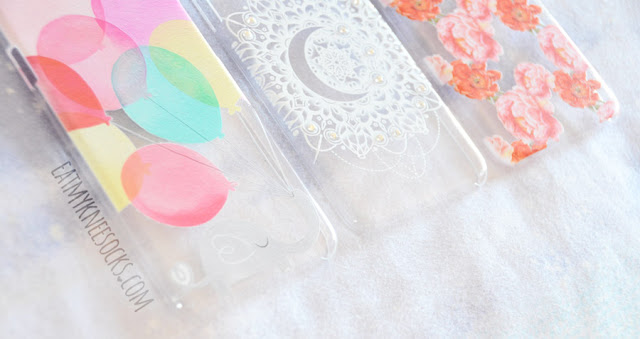 Today I'm reviewing my second set of phone cases from Clash Cases, including a white rhinestone crescent moon case, a red-and-pink peony floral case, and an elephant with balloons case.