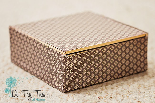 Altered Cigar Box - first layer of scrapbooking paper: Do Try This at Home