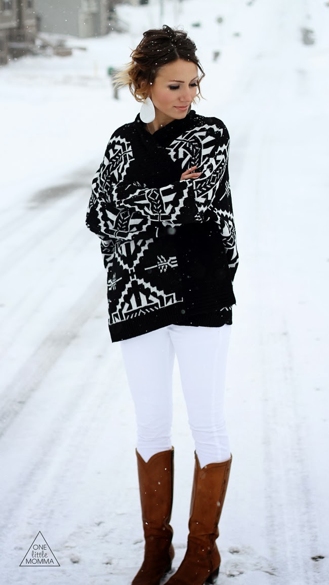 Aztec cardigan, white denim, tan boots