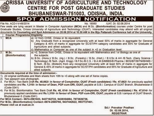 Spot Admission at OUAT Bhubaneswar 2014