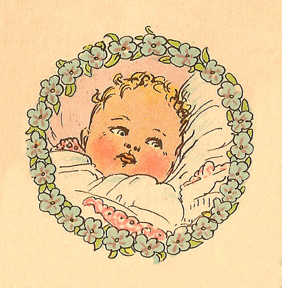 Free Baby Clip Art Vintage Portrait In Circle Frame Of Blue Flowers