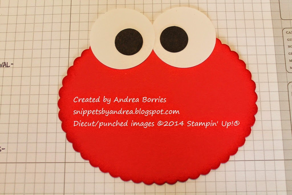 Elmo's eyes added to the card base.