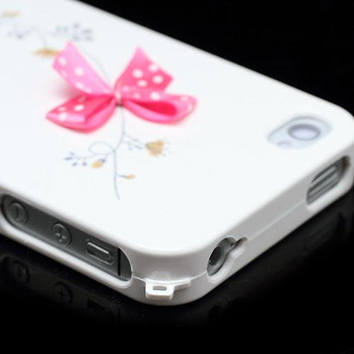 Happymori Flora & Bowknot : Front & Back Snap-On Hard Case for iPhone 4 4S