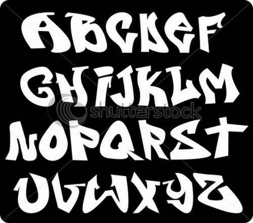 Cool Graffiti Fonts Vector Illustration Alphabet A Z Black And White Letters With Different Styles Can Emulate Any