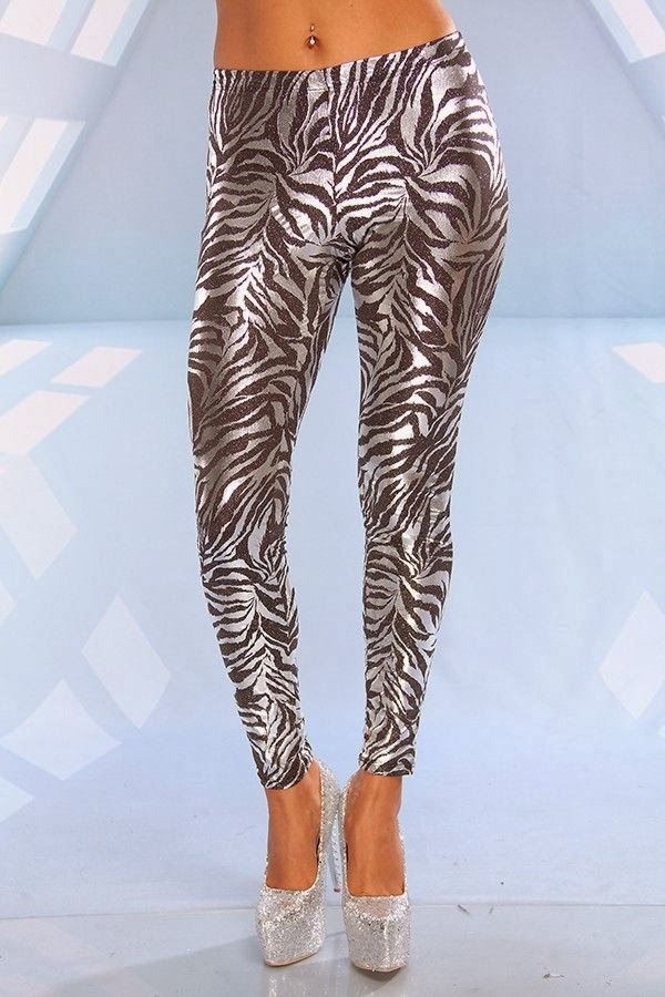 Glitter Zebra Print Straight Leg Leggings