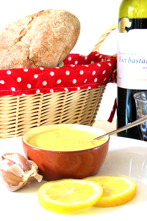 aioli, bread and wine