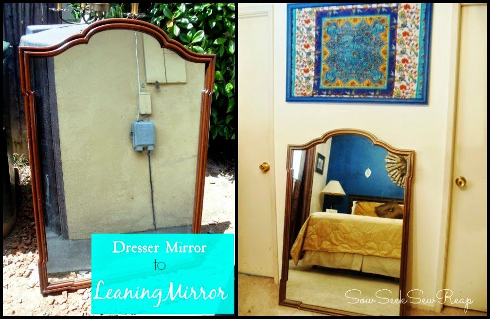 LEANING MIRROR, DRESSER MIRROR TO LEANING MIRROR, SPRAY PAINTING A MIRROR