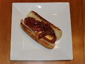 Cheese-Stuffed Hot Dogs w/ Spicy Onions