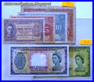 Malaya & British Borneo 1953 $1 A/1 285683 (AU)                   & $5 A/1 049841 (AVF)