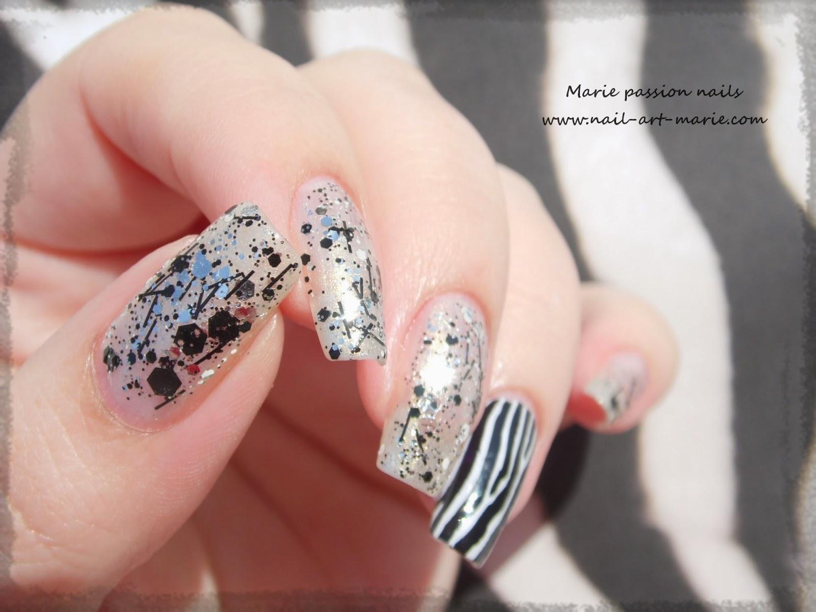 Nail art accent nail zébré2
