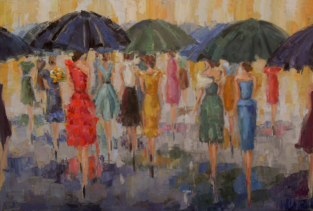 the invitation, fashion ladies by Kathryn Morris Trotter, Kathryn Trotter Art, www.kathryntrotterart.com, red dress painting, ladies with umbrellas, dancing in the rain painting, oil painting of fashion ladies