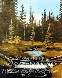 Chris Stern CS Designs bc canada stream Oil Painting