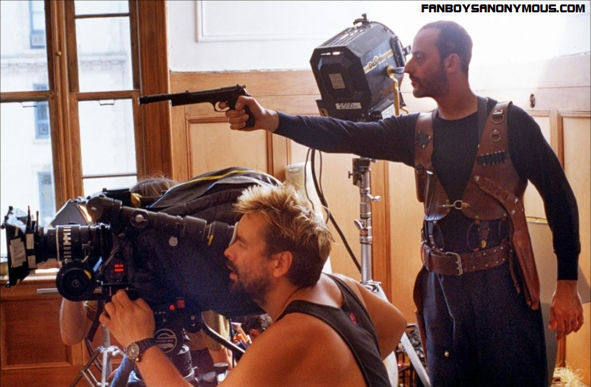Luc Besson and Jean Reno behind the scenes of hitman thriller Leon aka The Professional