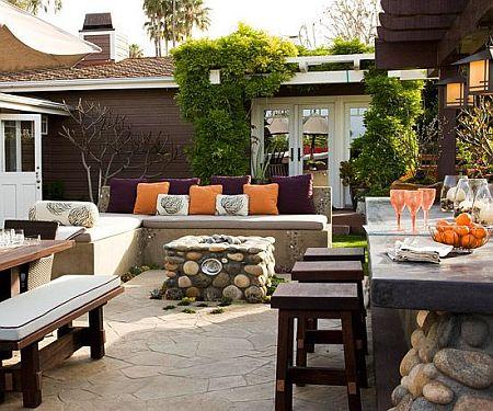 stylish orange accents in the garden