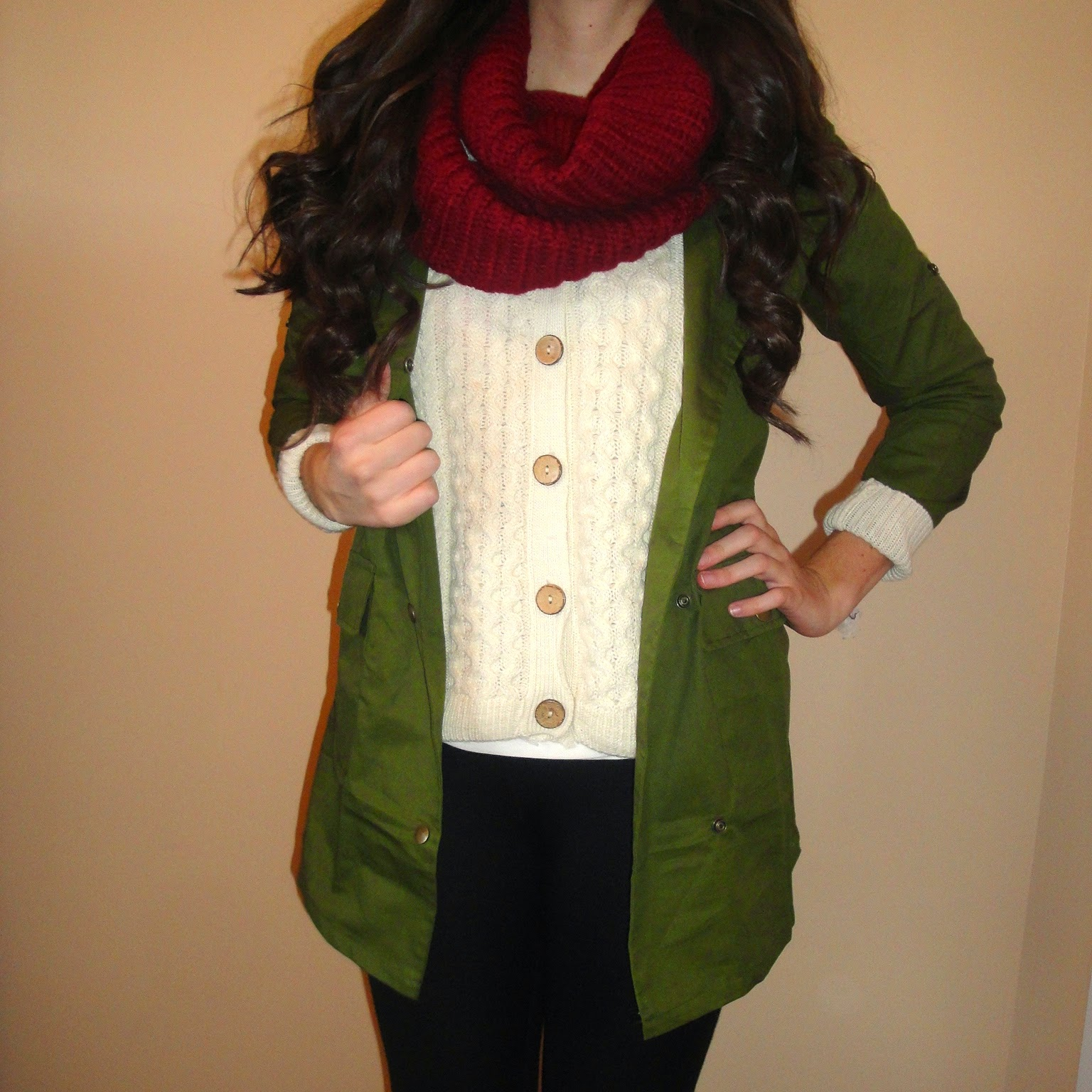 military jacket, green anorak jacket, burgundy scarf, layered look, layering for fall,