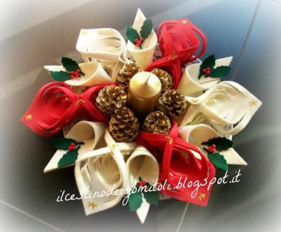 Il cestino dei gomitoli centro tavola natalizio - Centro tavola natalizio con pigne ...