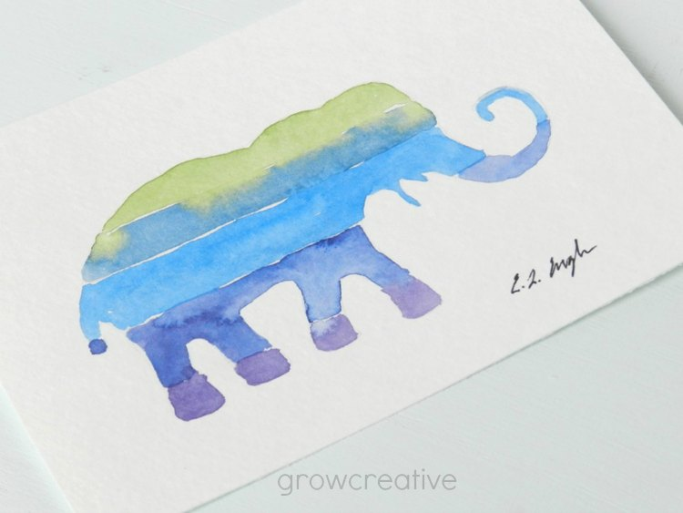 Purple, Blue, and Green, Striped Elephant Watercolor Painting: Grow Creative