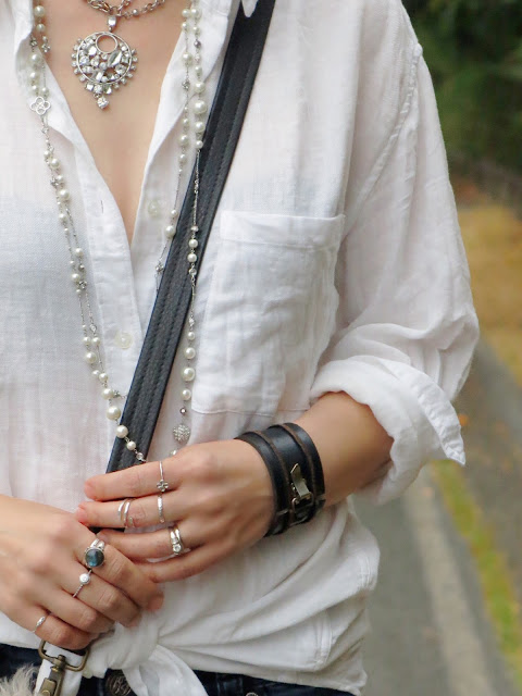 Aritzia white linen shirt and layered pearl and rhinestone necklaces