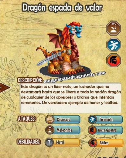 imagen de las caracteristicas del dragon espada de valor