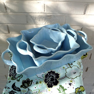 Ruffled Blue Casserole Dishes