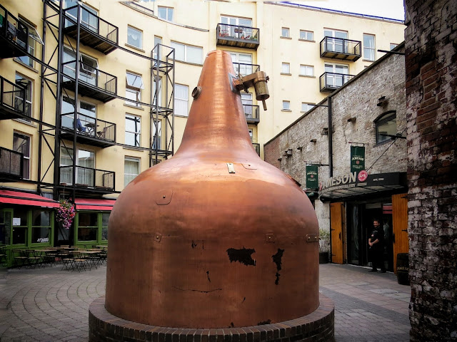 Copper pot outside Jameson Distillery in Dublin