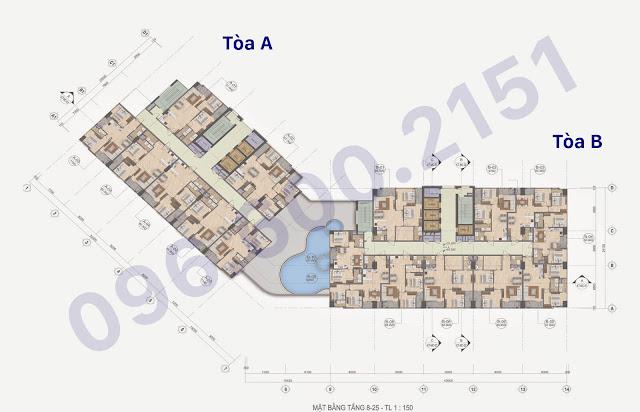 Mặt bằng sàn chung cư The Garden Hill - 99 Trần Bình