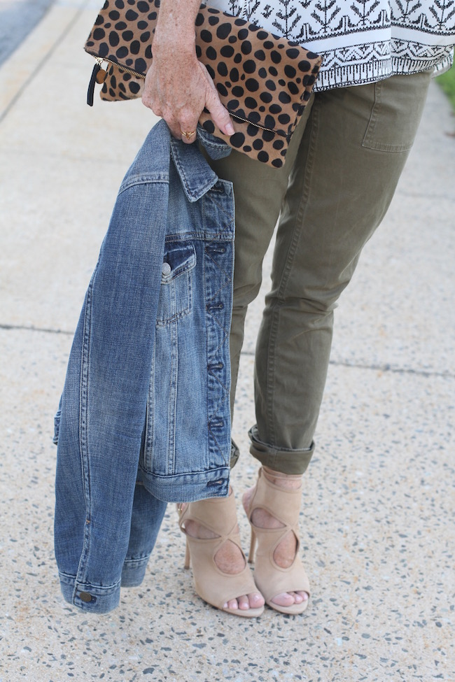 clare v clutch, jcrew jacket, jcrew pants, aquazurra heels