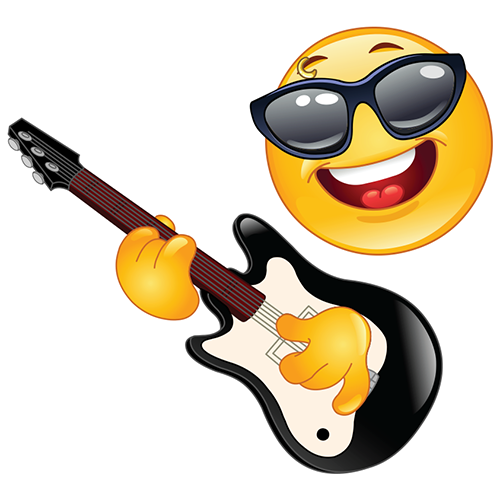 Rock smiley playing a guitar