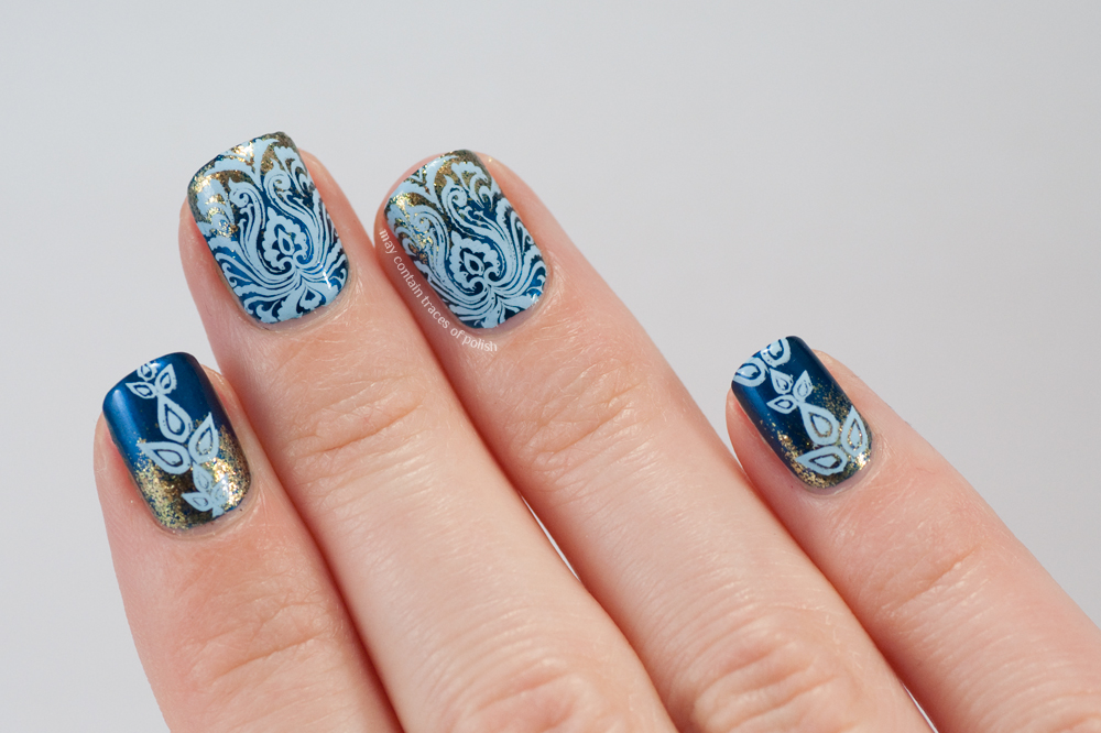 Blue damask nail art may contain traces of polish polishes used opi unfor greta bly blue opi goldeneye and mundo de unas pastel blue prinsesfo Image collections
