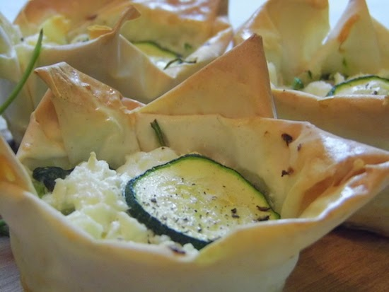 Courgette, spinach and feta tarts
