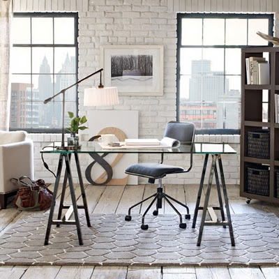 A glass top desk for our home office driven by decor - West elm office desk ...