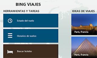 herramientas en Bing viajes