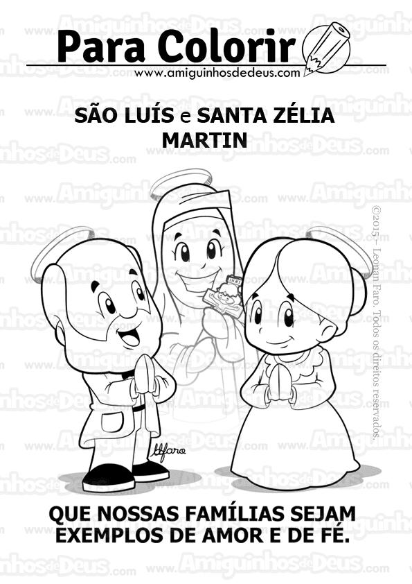 São Luís e Santa Zélia Martin pais de Santa Terezinha desenho para colorir