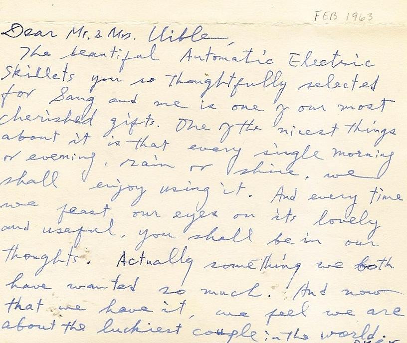Uibles A Family Blog 1963 Kims Wedding Gift Thank You Feb 11