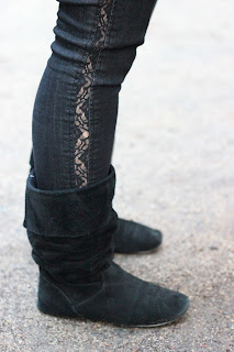 Lace Trimmed Jeans and Black Suede Boots