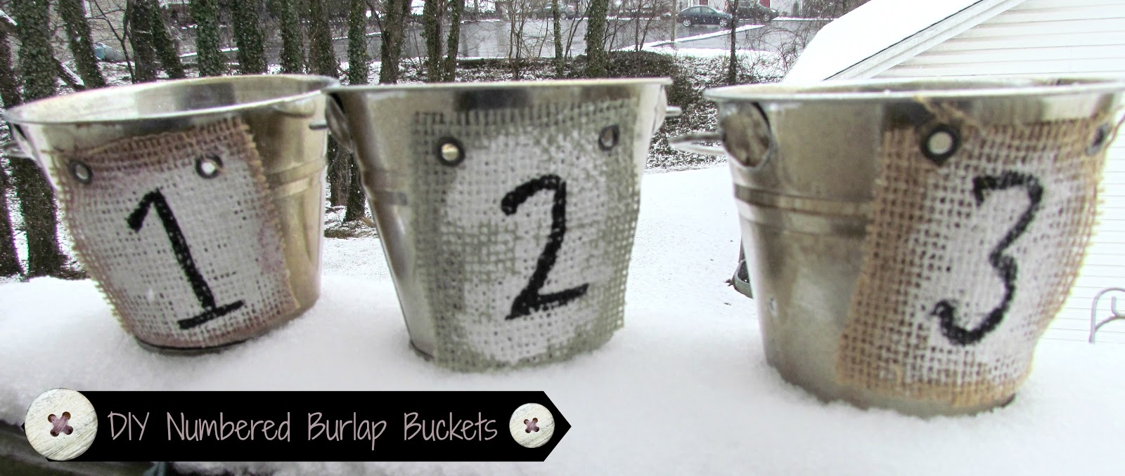 DIY Numbered Burlap Buckets