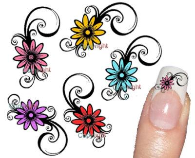 Fotos De Autocolante Tattoo Decorativo De Unhas Flores Coloridas