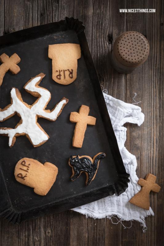 Halloween Dessert Grabstein Kekse Cat Cookies