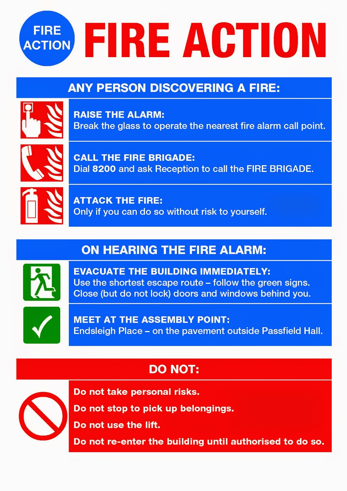 Connaught hall warden 39 s blog fire 4th june 2014 for Fire evacuation procedure template free