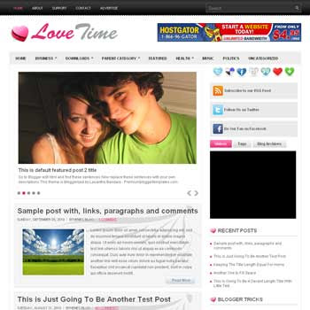 LoveTime blog template. template image slider blog. magazine blogger template style. wordpress theme to blogger