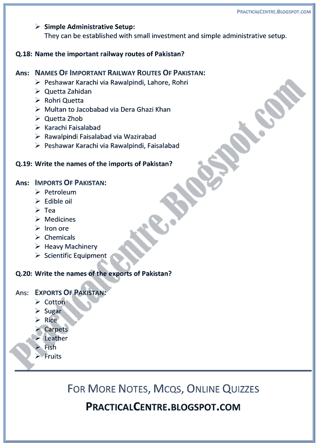 industrial-development-in-pakistan-short-question-answers-pakistan-studies-9th