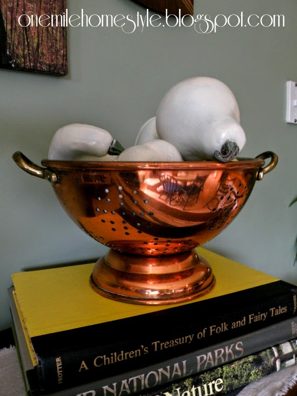 Copper colander and white pumpkins - fall decor