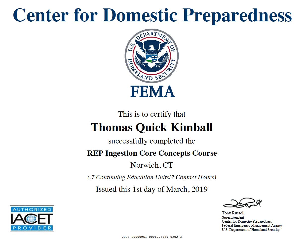 AWR-351 REP Ingestion Core Concepts Course (RICC)